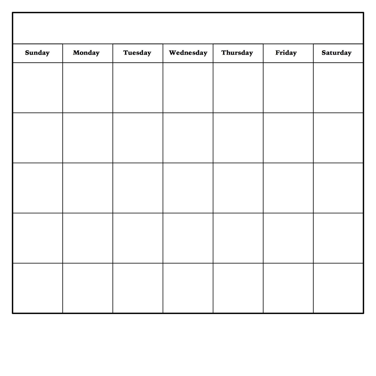 Blank Monday Through Friday Pdf | Calendar Template Printable Monday Through Friday Monthly Calendar