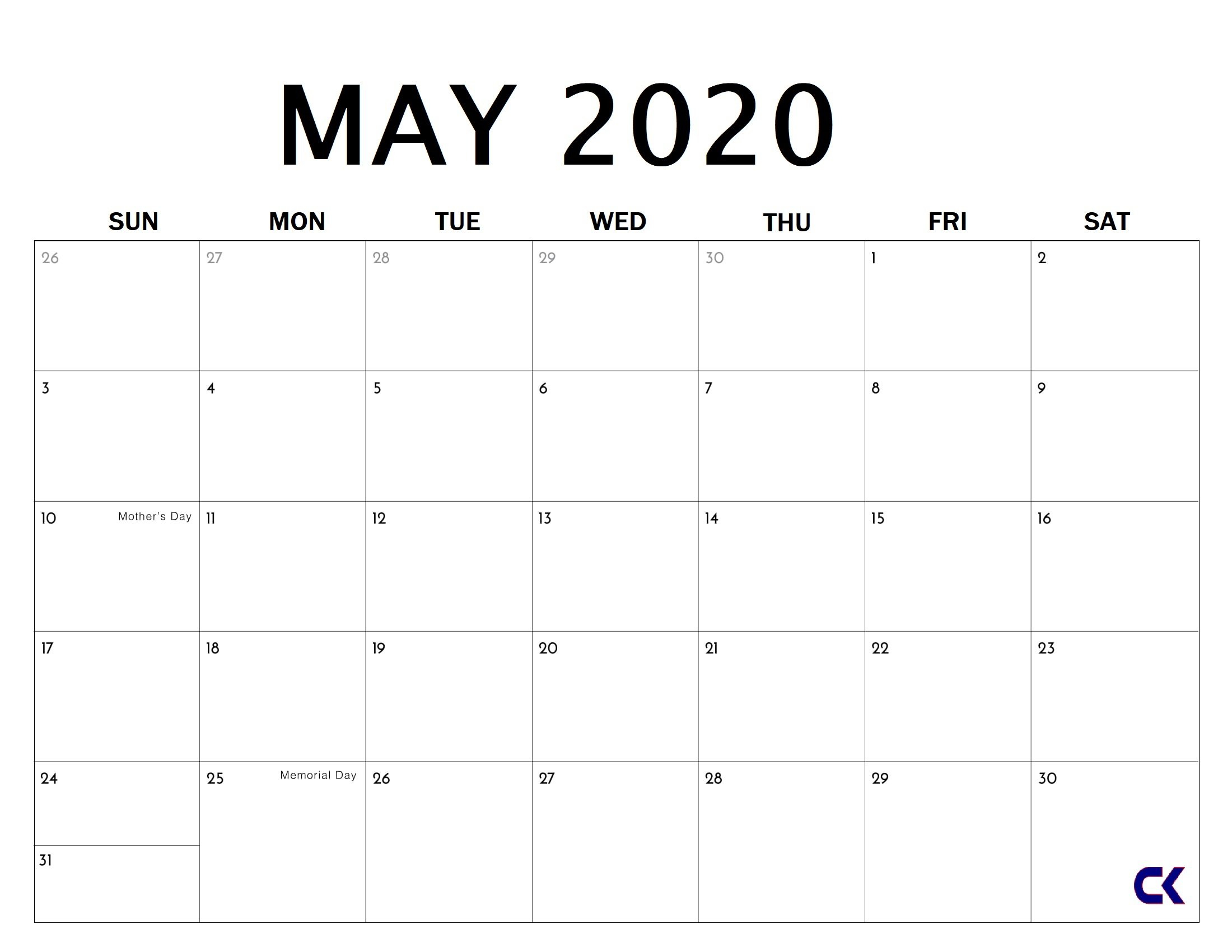 Blank Monthly Calendar 2020 Monday Through Friday Days Monday Through Friday Monthly Calendar