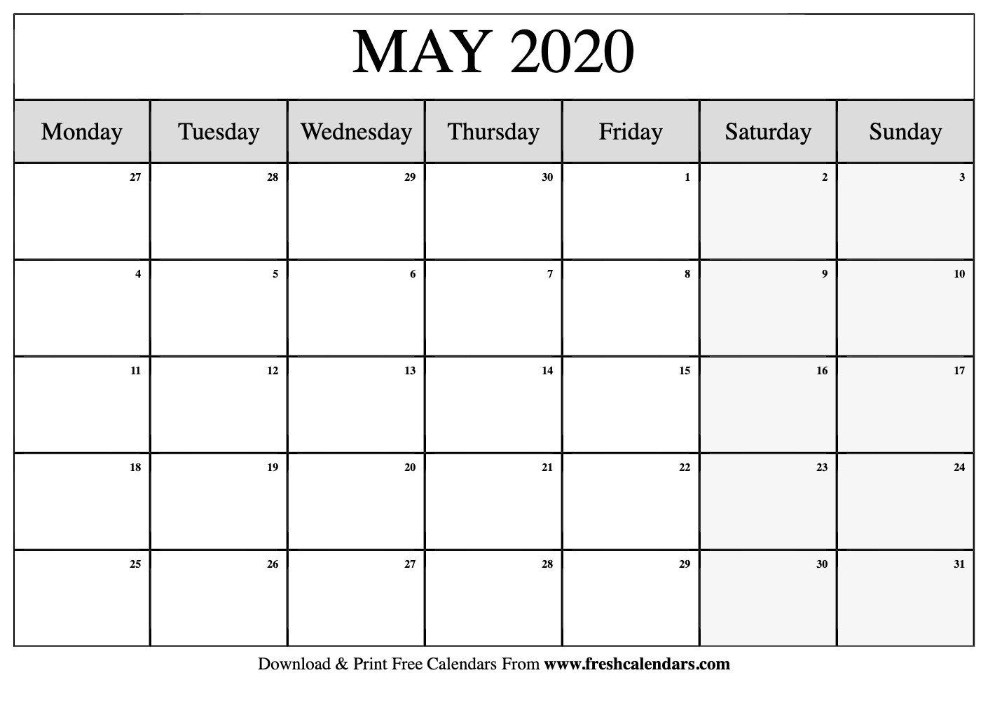 Blank Monthly Planner Starts On Monday | Calendar Template May Calendar Starting On Monday