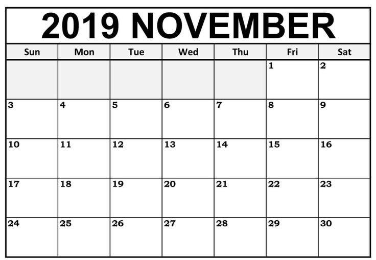 Blank November 2019 Calendar Editable | 12 Month Printable 12 Month Editable Calendar