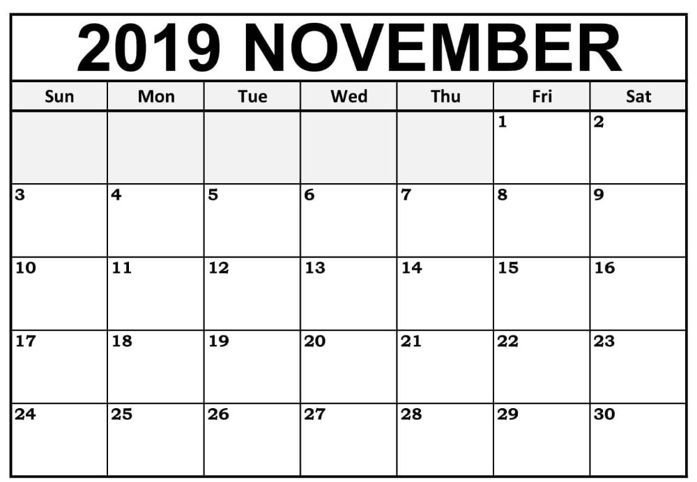 Blank November 2019 Calendar Editable | 12 Month Printable 12 Months Calendar Editable