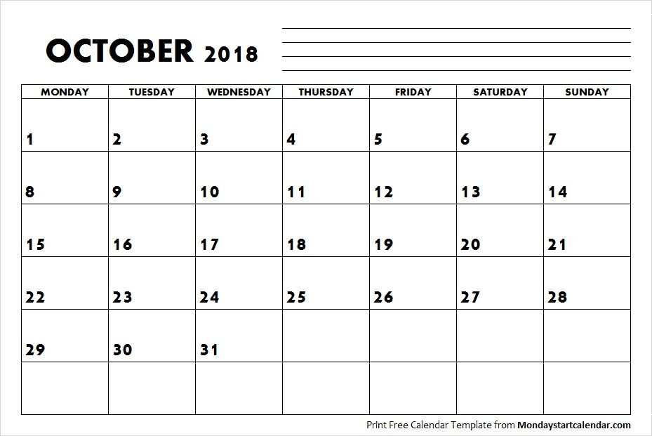 Blank October Calendar 2018 Starting Monday | October May Calendar Starting On Monday