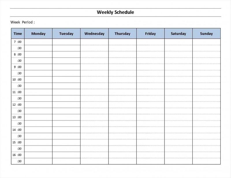 Blank Revision Timetable Template Awesome 7 Day Week One Week Calendr To Prink