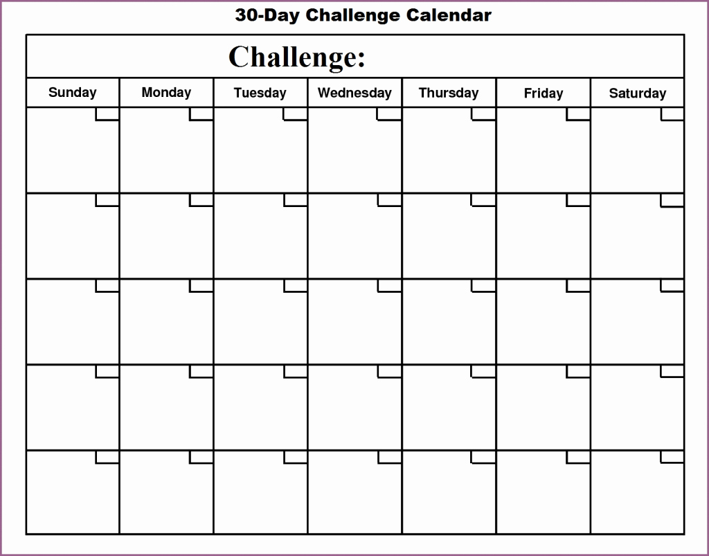 Blank Template For 30 Days | Example Calendar Printable 30 Day Printable Schedule