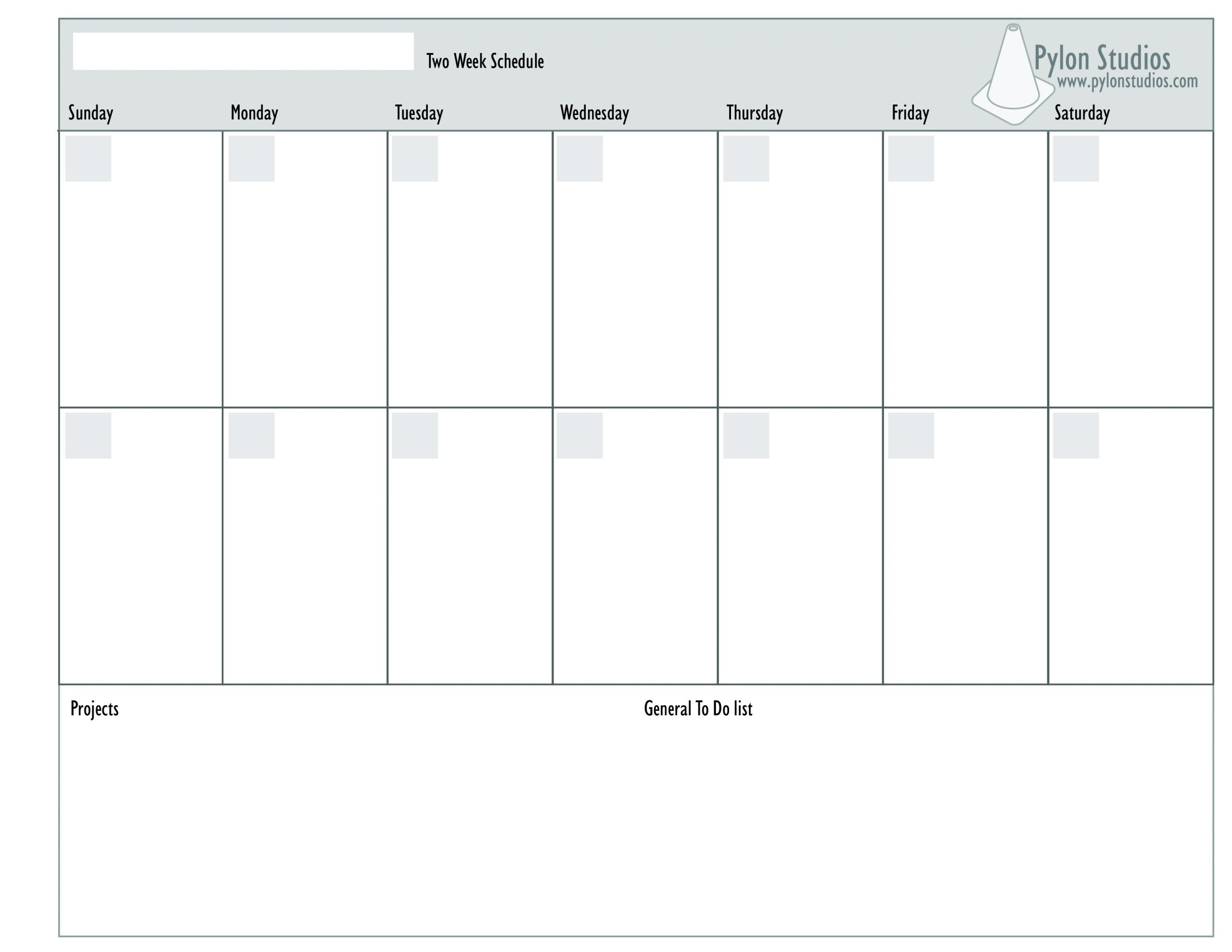 Blank Two Week Schedule Template - Calendar Inspiration Design 2 Week Calendar Sample