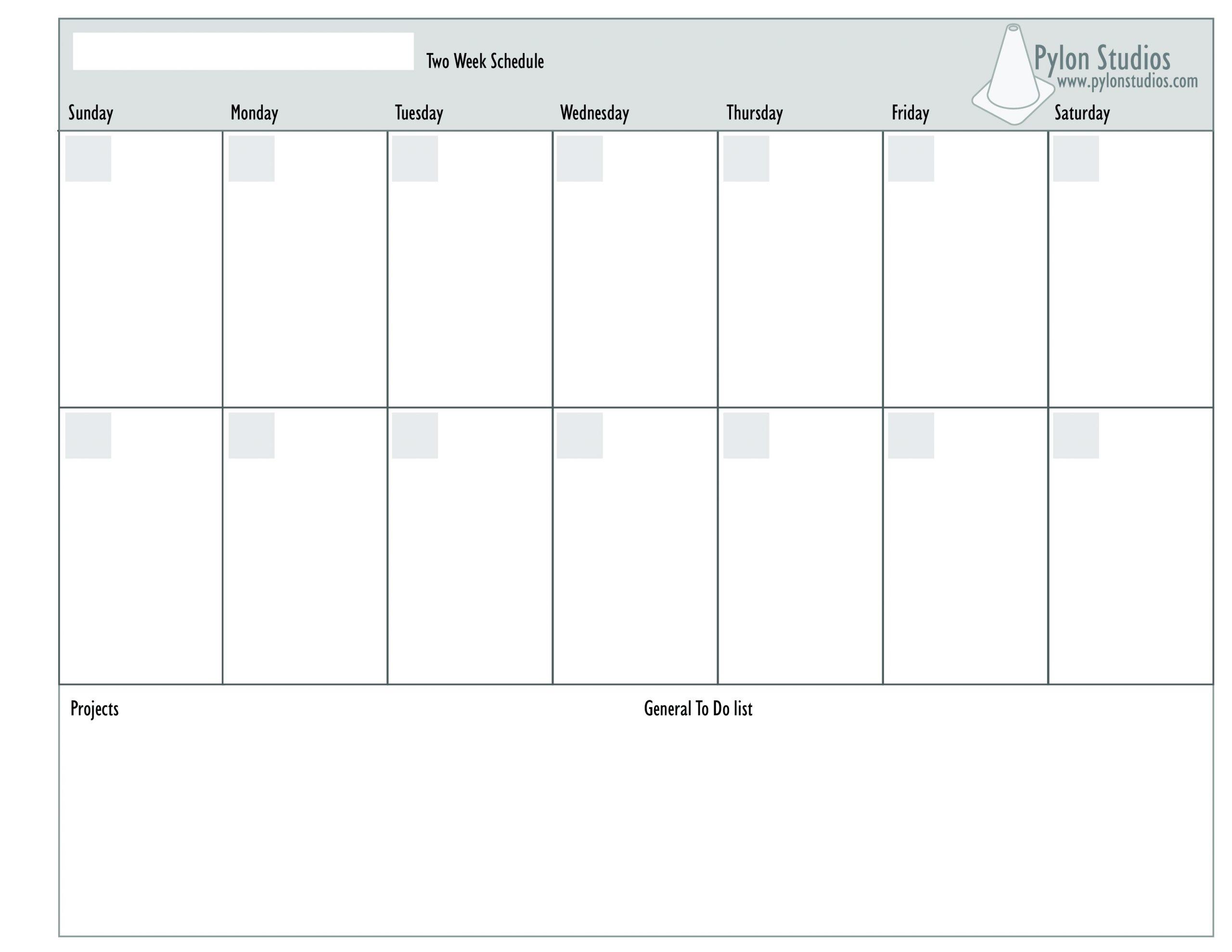 Blank Two Week Schedule Template - Calendar Inspiration Design 2 Week Calendar Sample
