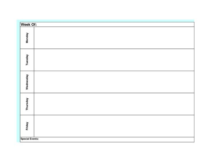 Blank Weekly Calendar Template Monday Friday | Blank Saturday Thur Friday Schedule