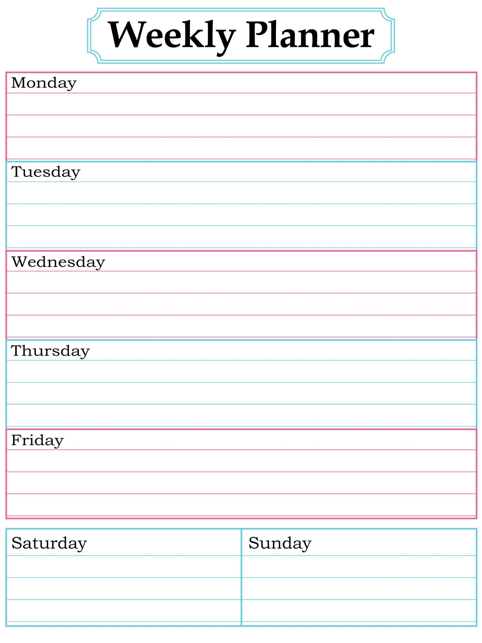 Blank Weekly Calendar To Fill In | Calendar Template Fill In School Schedule