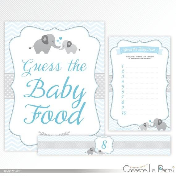 Blue Elephant Guess The Baby Food Game, Label And Sign Guess The Baby Printable