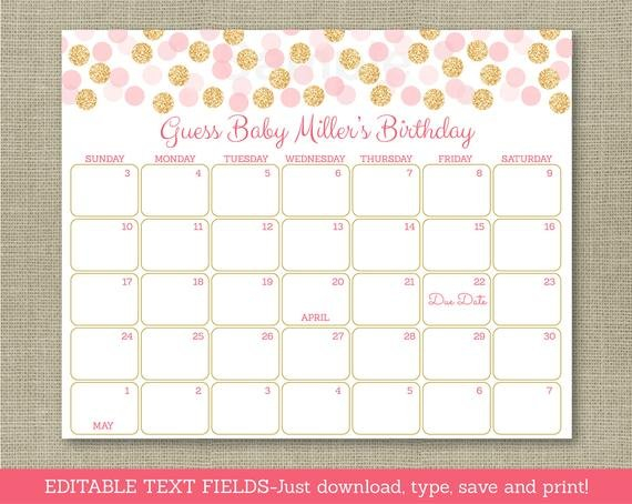 Blush Pink & Gold Glitter Dots Printable Baby Due Date Printable Baby Due Date Calendar