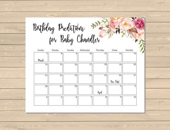 Boho Floral Birthday Prediction Calendar, Printable Boho Free Printable Baby Guessing Calendar
