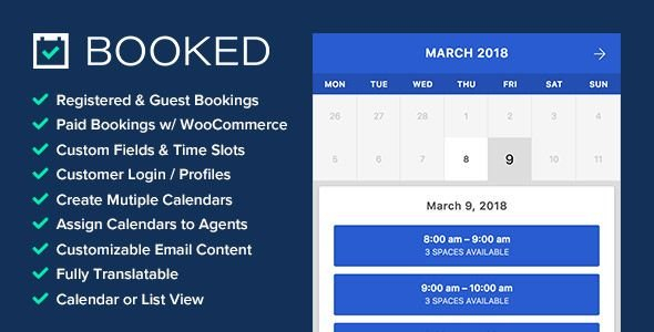 Booked V2.1 Appointment Booking For WordPress (With Images Free Reservation Calendar For Website