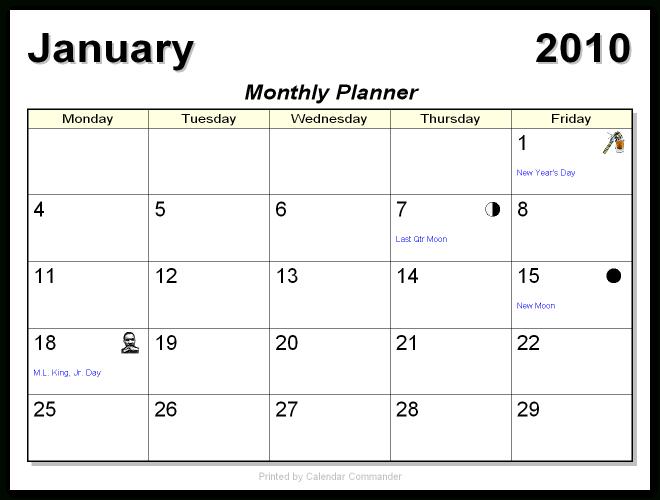 Briggs Softworks: Calendar Commander - Sample Calendars Word 5 Day Calander