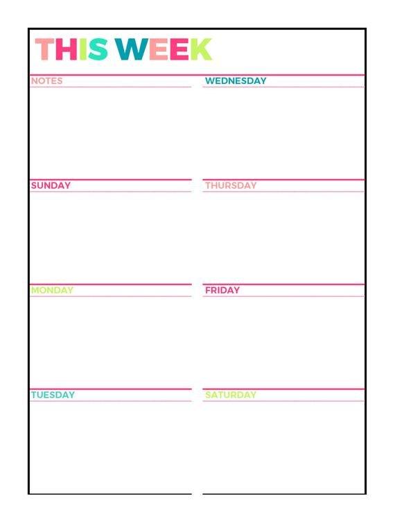 Bright Weekly Planner Printable Week On 1 Page | Etsy One Week Schedule Print