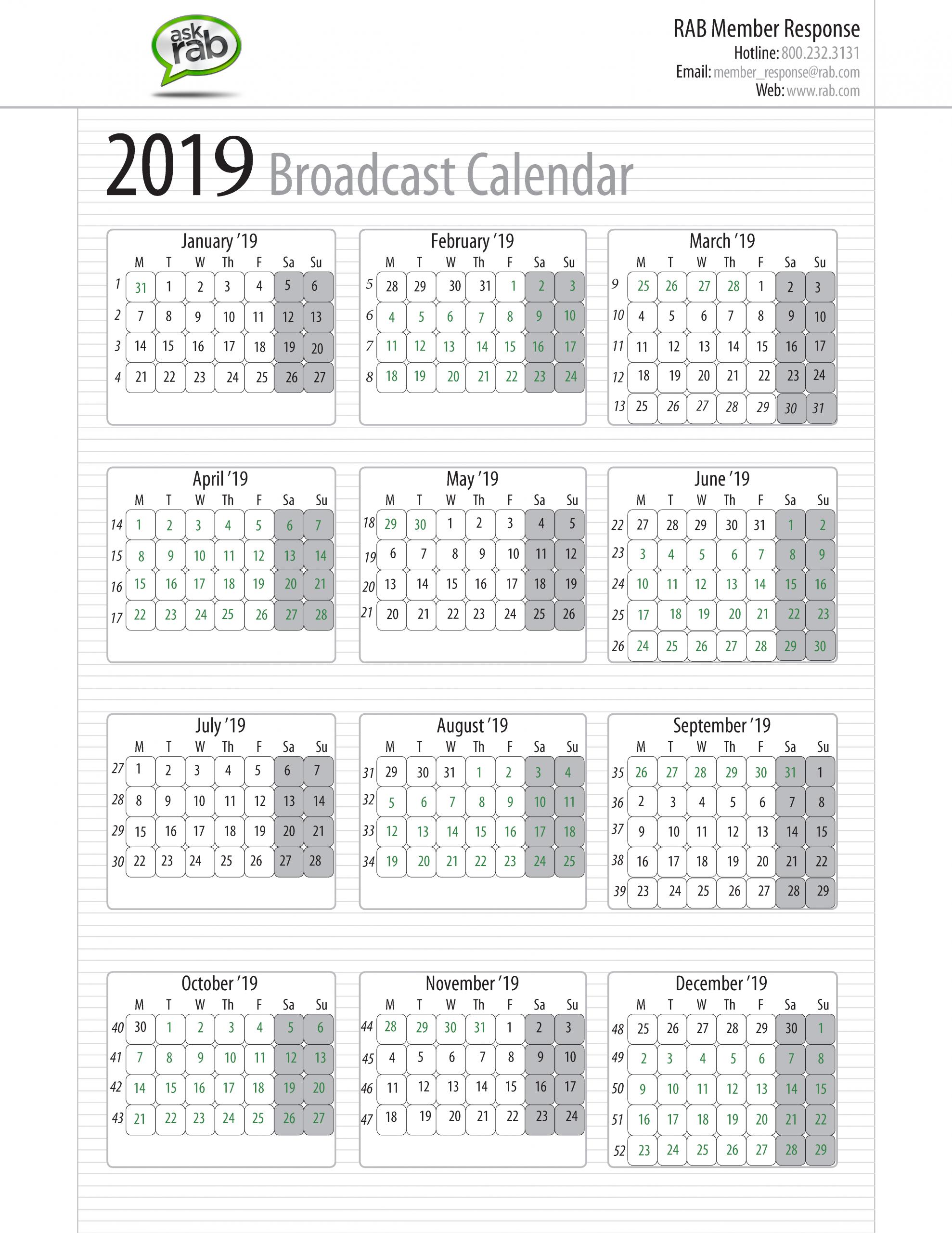 Broadcast Calendars | Rab Sap 52 Week Numbered Calendar