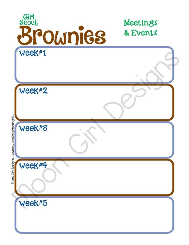 Brownie Monthly Activity Calendar Girl Scouts Editable | Etsy 2 Week Activity Calendar Editable