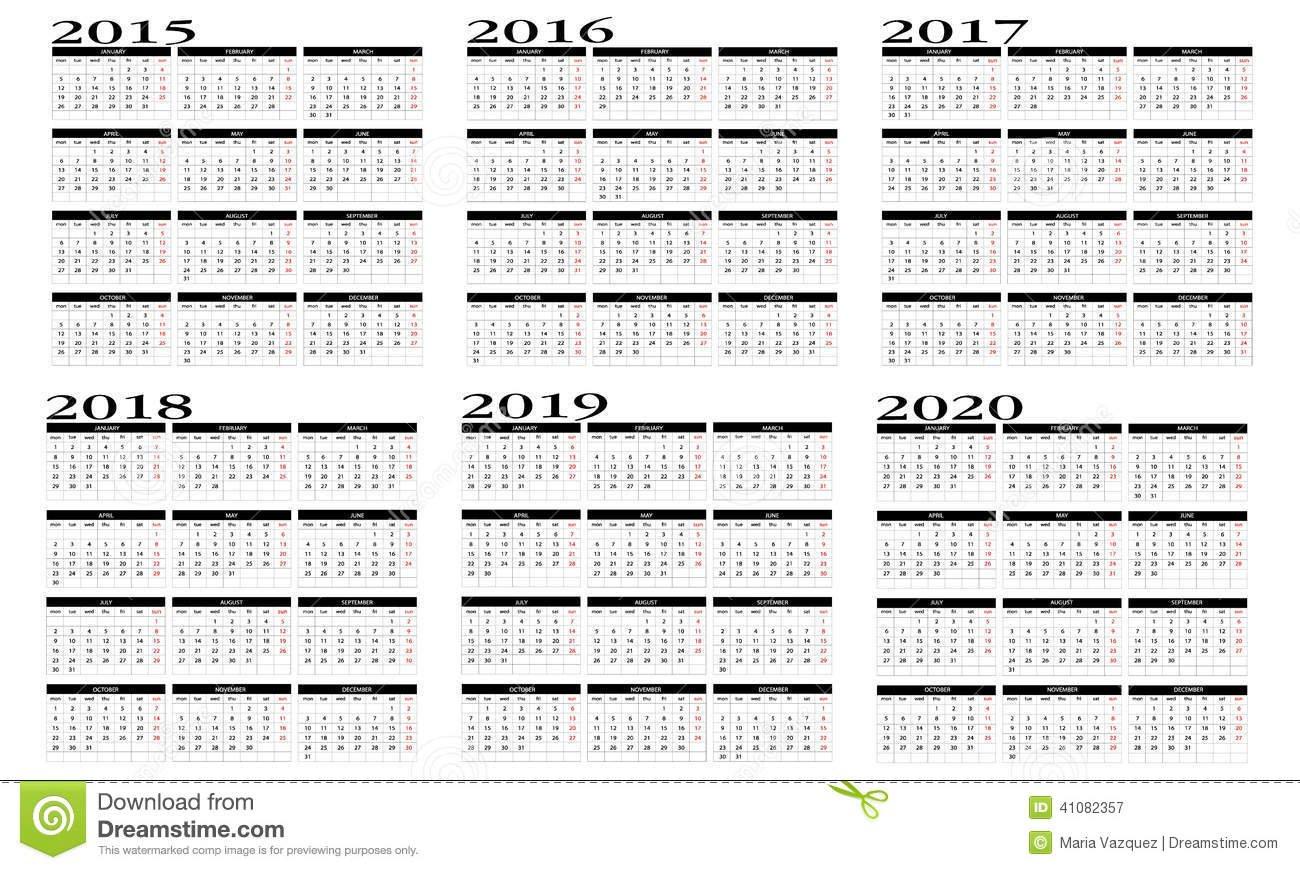 Calendar 2015 To 2020 Stock Vector - Image: 41082357 Five Year Calendar Image