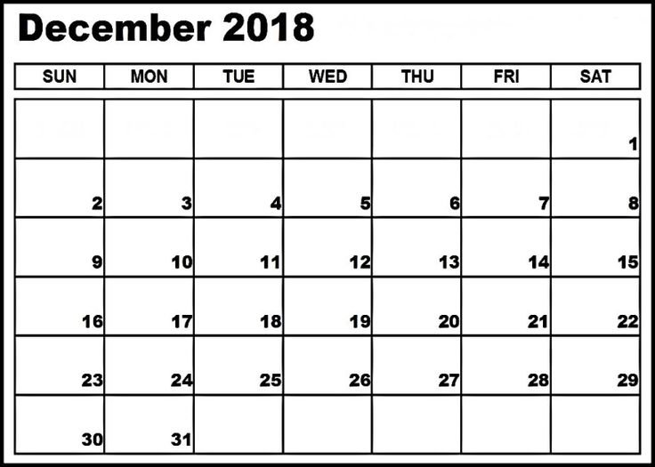 Calendar 2018 December | Monthly Calendar Printable 8X11 Full Page Weekly Calendar