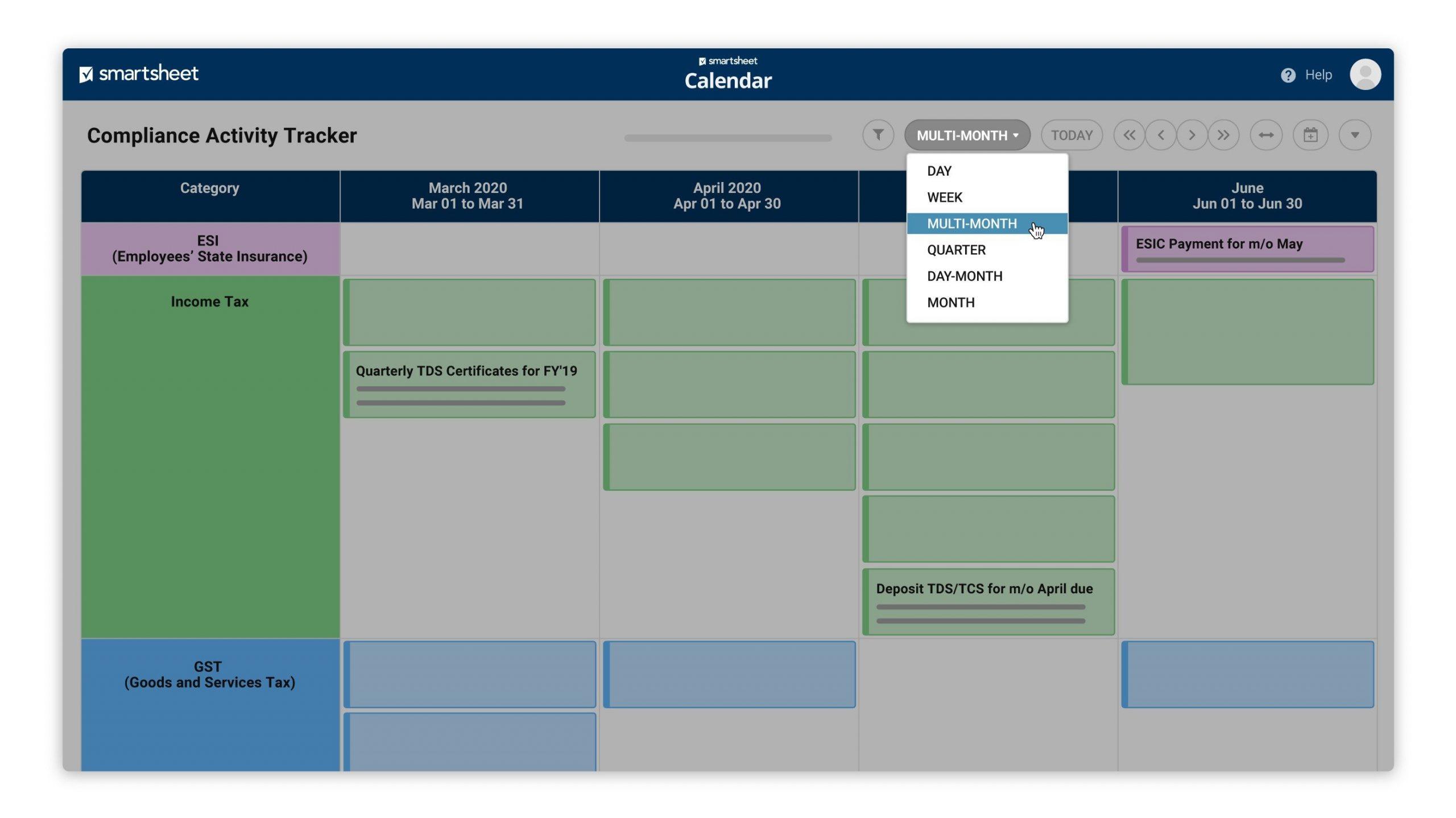 Calendar App | Smartsheet How To Make A Color Coded Calendar Parenting Time