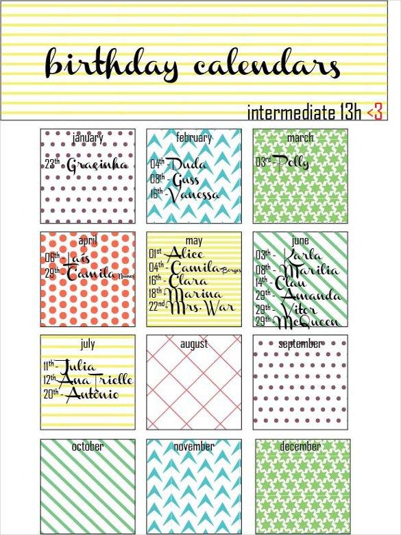 Calendar Birthday Template – Printable Week Calendar Free Calendar Template For Birthdays