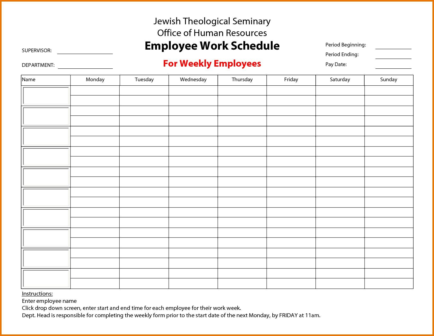 Calendar Employee Schedule Template – Printable Schedule Blank Printabel Daily/Weekly Meeting Schedule