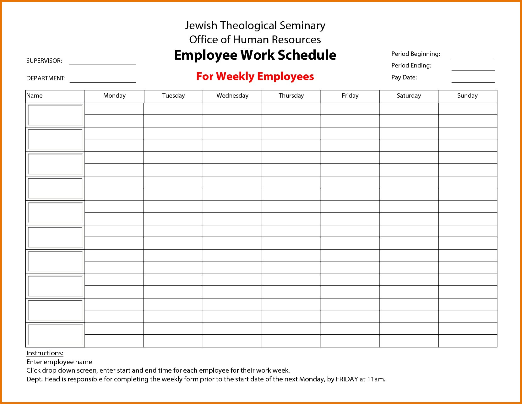 Calendar Employee Schedule Template – Printable Schedule Free Sunday Through Saturday Scheduling Calender