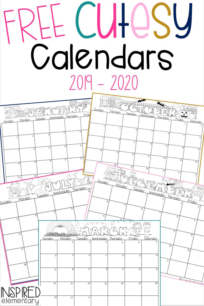 Calendar Gift: Cutesy Calendar Freebie! | Classroom Free School Calendars For Teachers