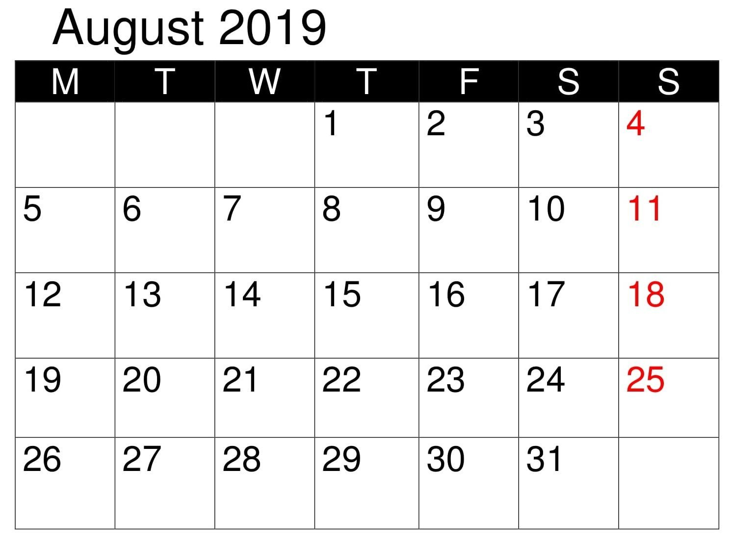 Calendar Printable August 2019 Word | Monthly Calendar Free Editable Calendars For School
