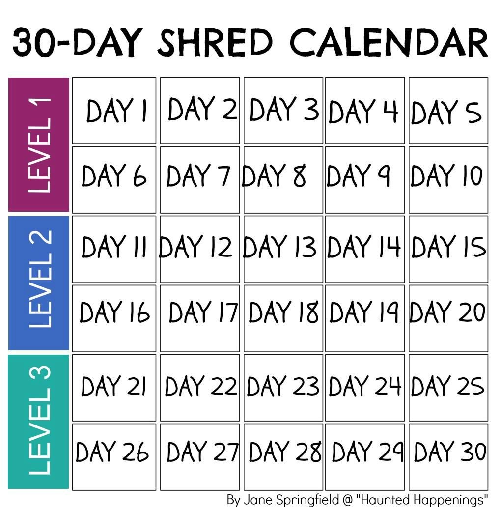 "Calendar Template For Jillian Michael'S ""30-Day Shred"" To Free Printable 30 Day Calendar 30 Day"