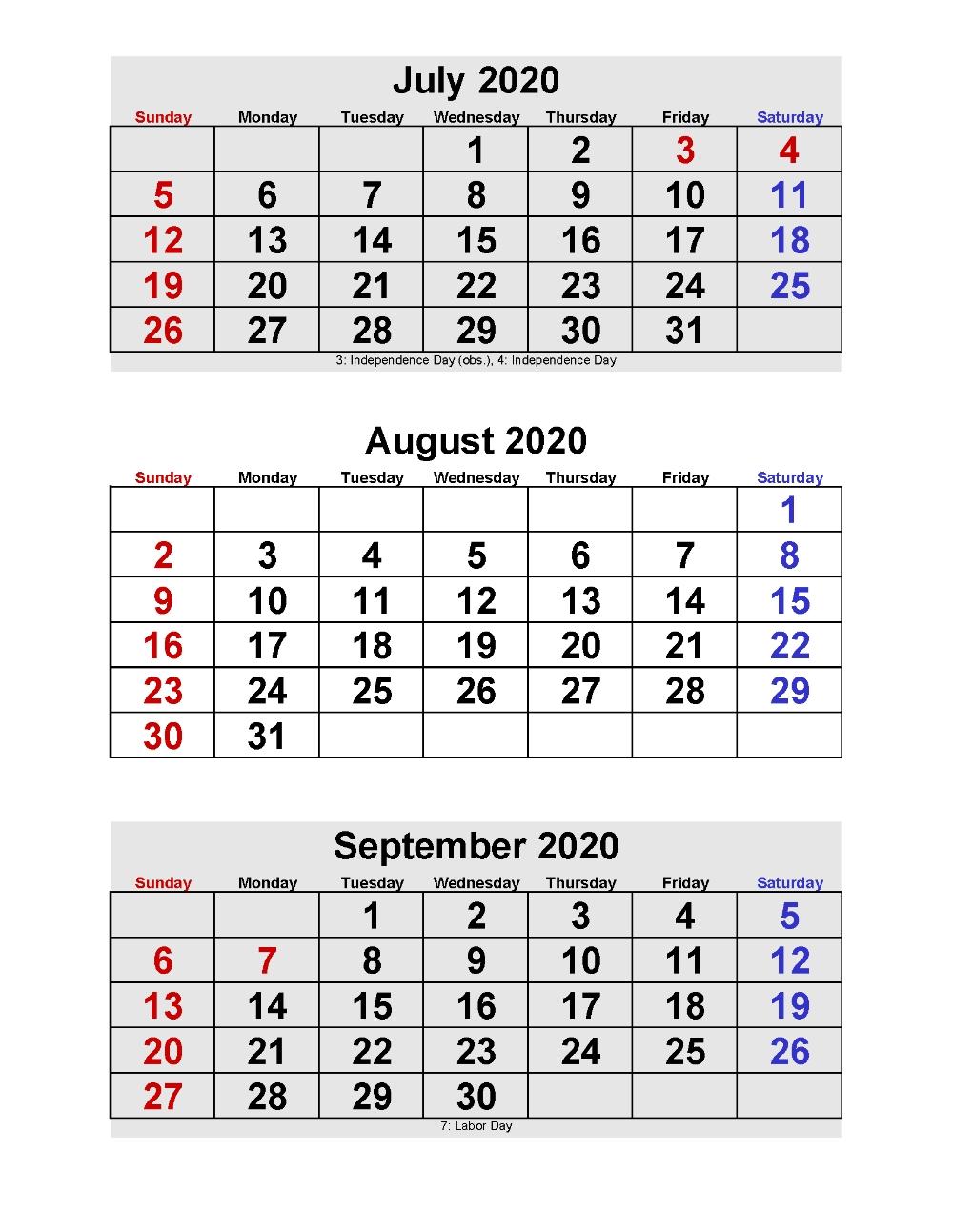 Calendar Templates 3Months Per Page | Calendar Template 3 Month Free Calendar
