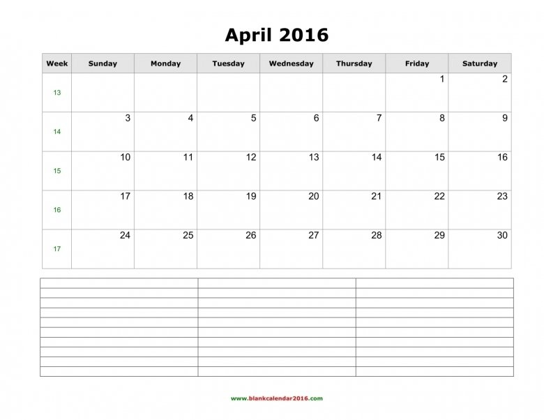 Calendar With Notes Section :-Free Calendar Template Calendar Template With Notes Section
