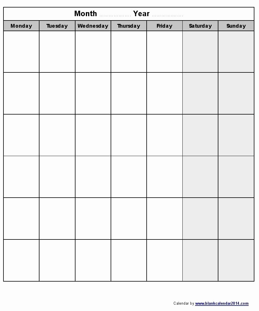 Calendarmonth Monday To Friday – Template Calendar Design Word Calendar Template Monday Through Friday