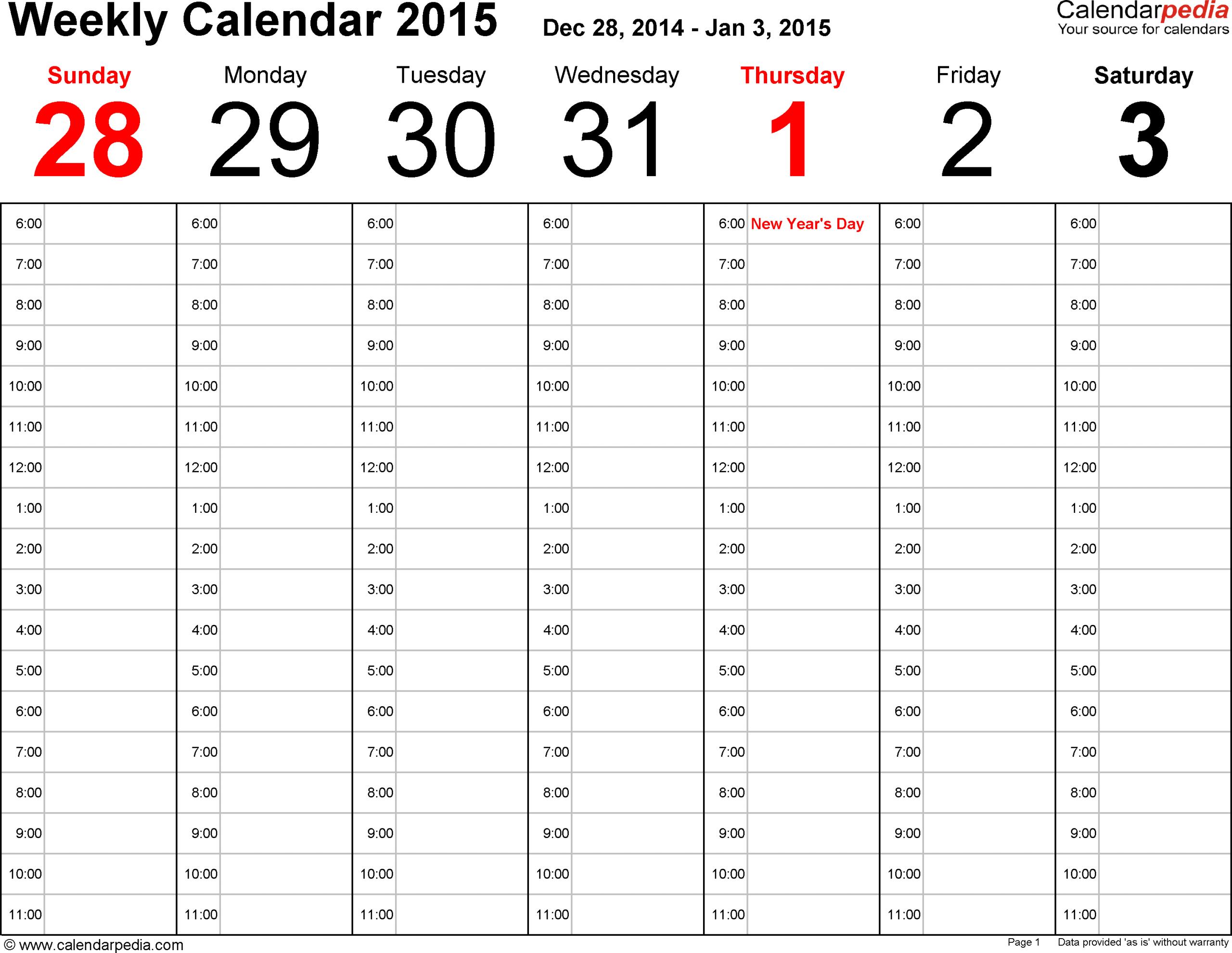 Calendarpedia - Free Printable, Fillable Calendar Two Week Calendar Template Word