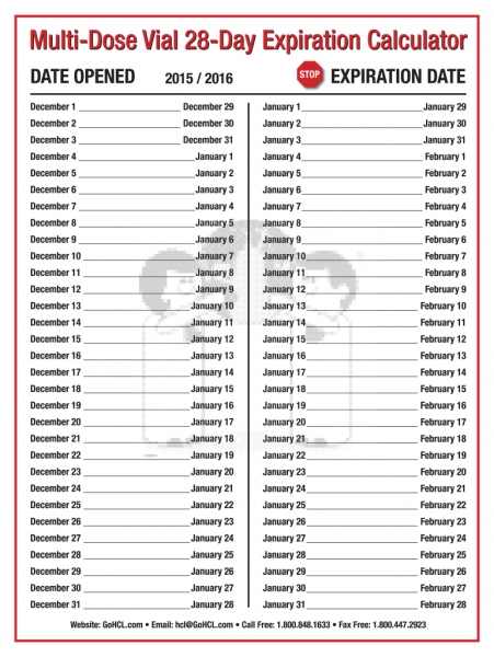 Calender For Expired Insulin Dates | Printable Calendar Insulin 28 Day Expiration Chart