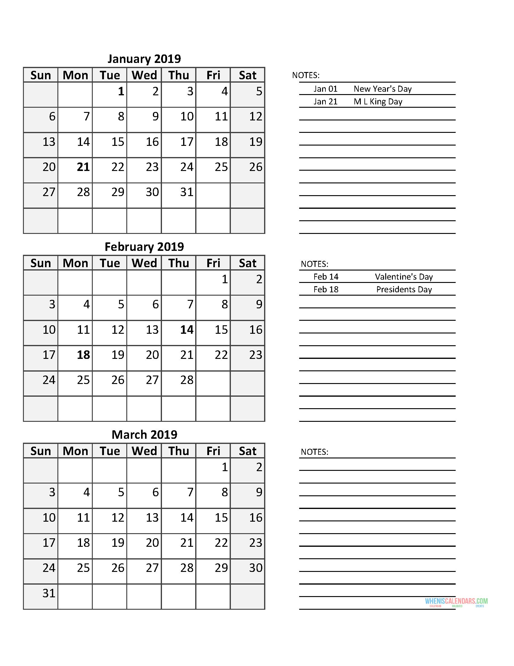 Catch 3 Month 2020 Quarterly Calendar With Holidays 3 Month Calendar Printable Free