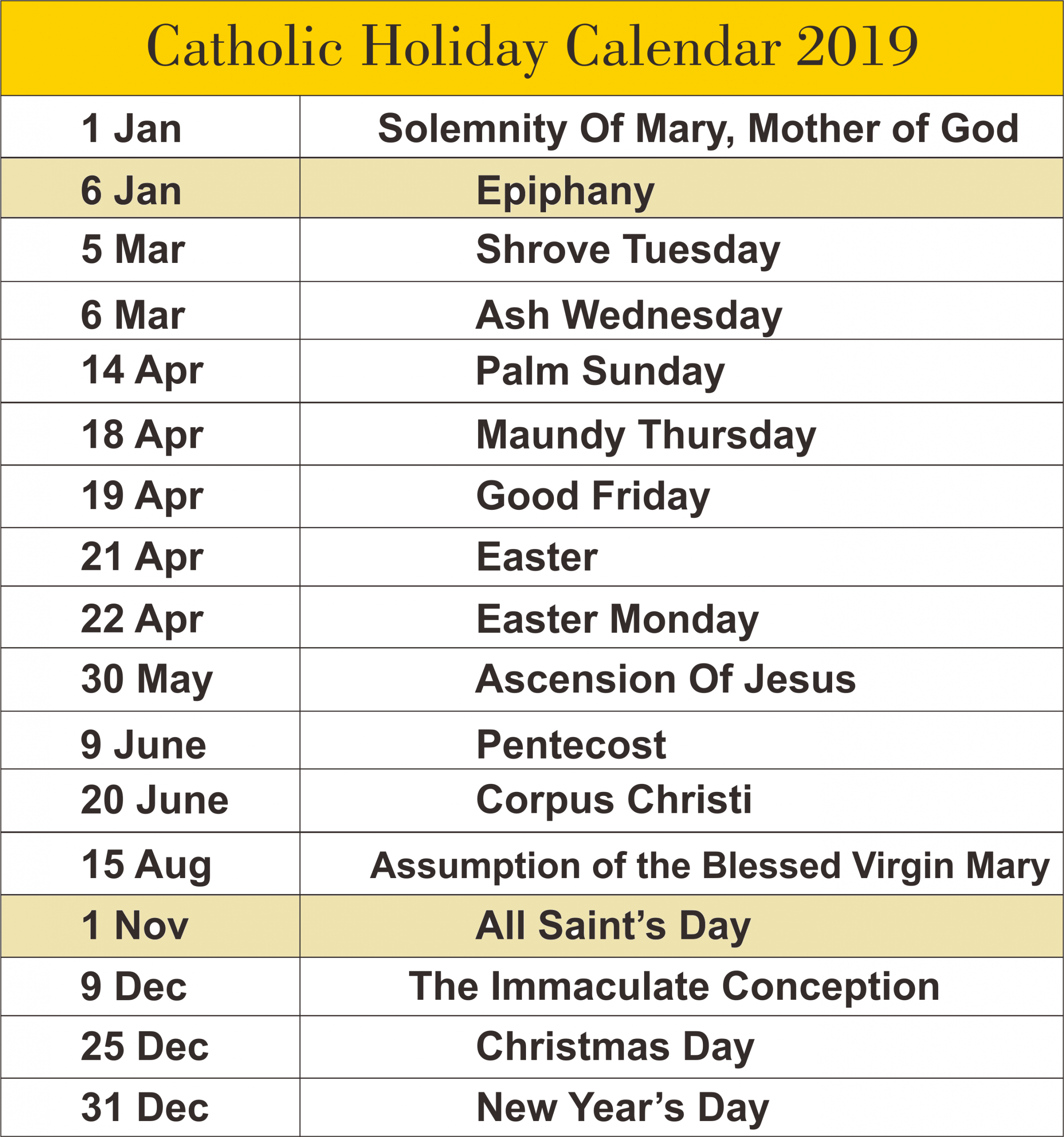 Catholic Calendar 2019 A4 | Catholic Liturgical Calendar Church Calendar Template Free