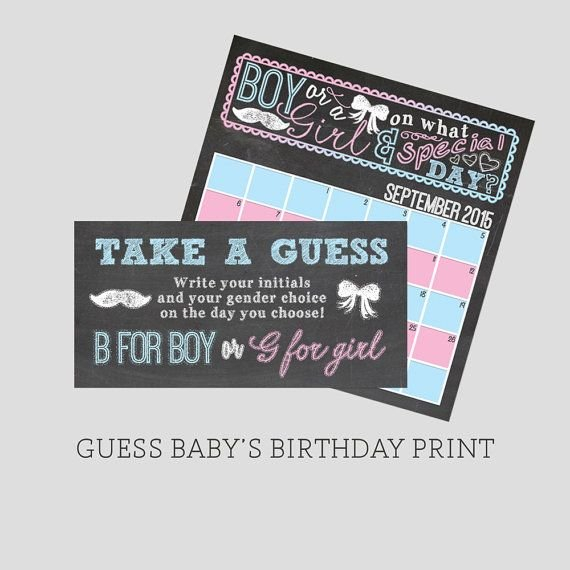 Chalkboard Blue And Pink, Boy Or Girl, Directions Card For Guess The Babys Birthday