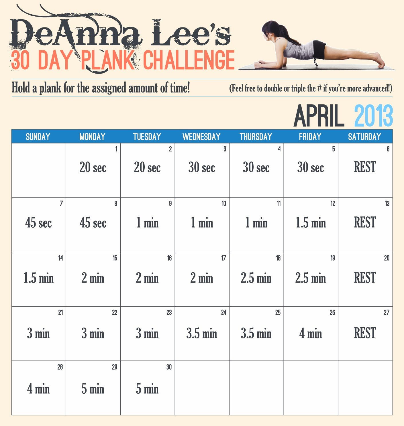 Change A Habit In 30 Days? - Challenge Accepted!  Walking Plank Challenge 30 Day Chart