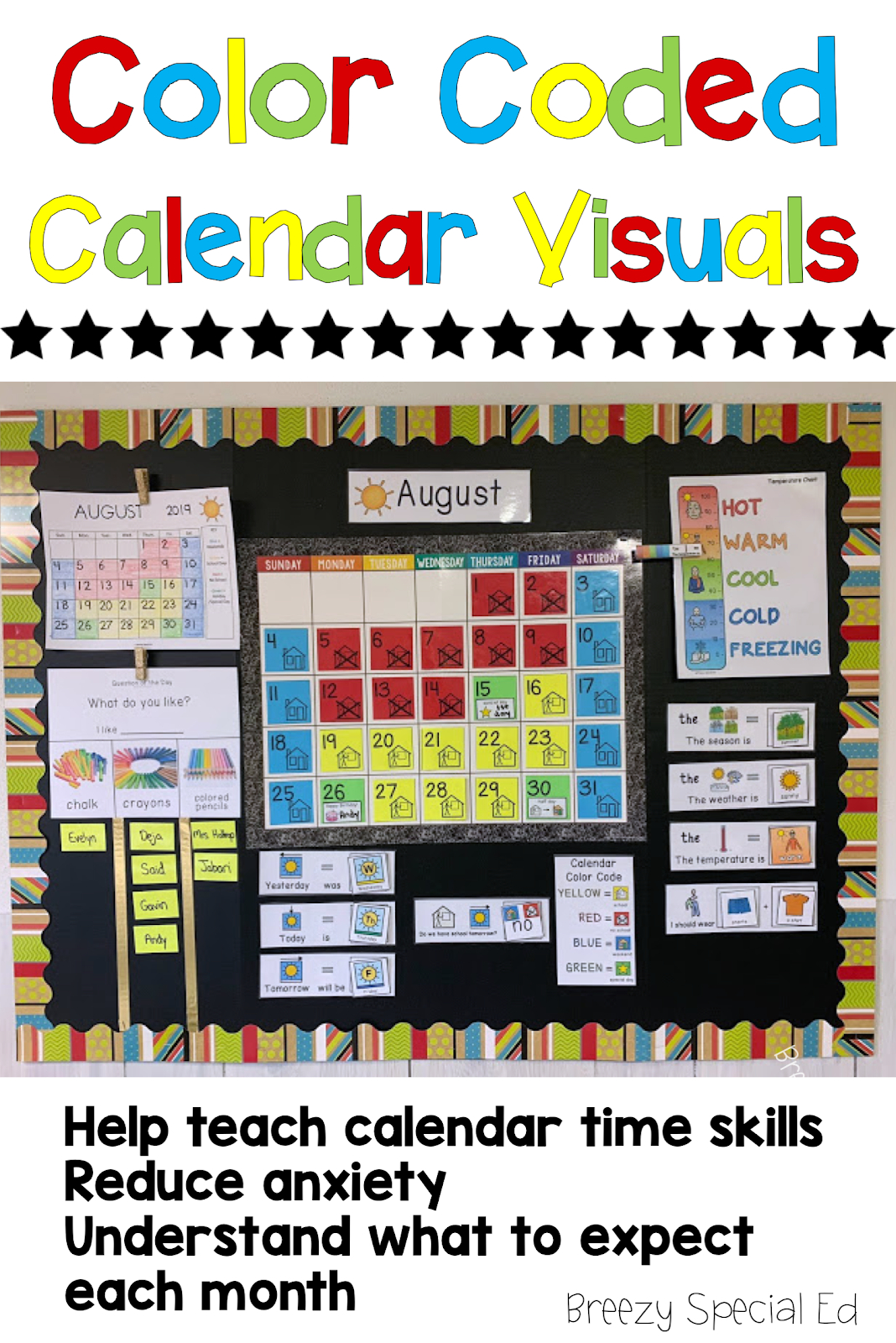 Color Coded Calendar Visuals - Breezy Special Ed Free Color Coded Calendars