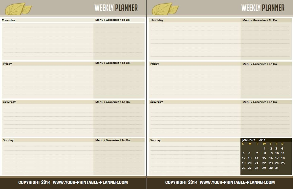 Complete Household Notebook - No Excuses For 2017 Free Two Week Planning Calendaar