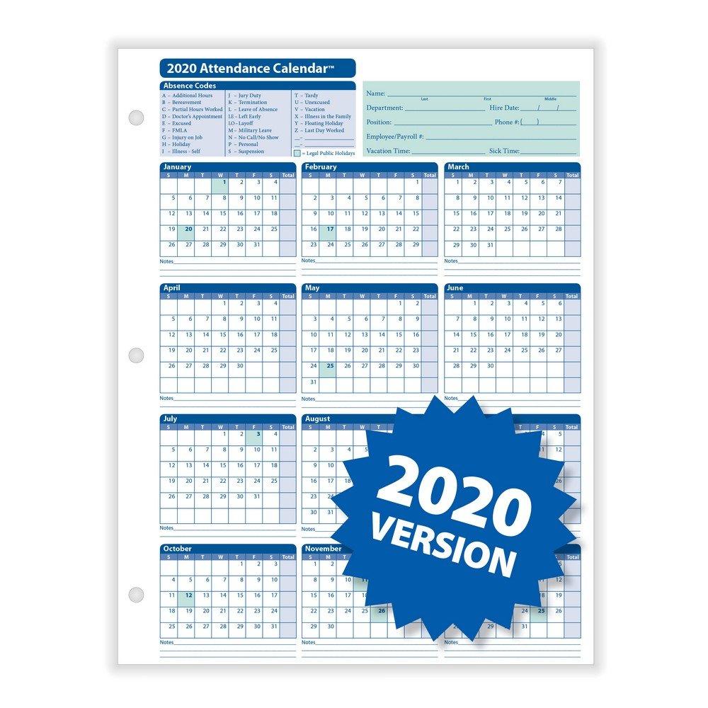 "Complyright 2020 Attendance Calendar, White, 8-1/2"" X 11 8 1 2 X 11 Printable Calendar"