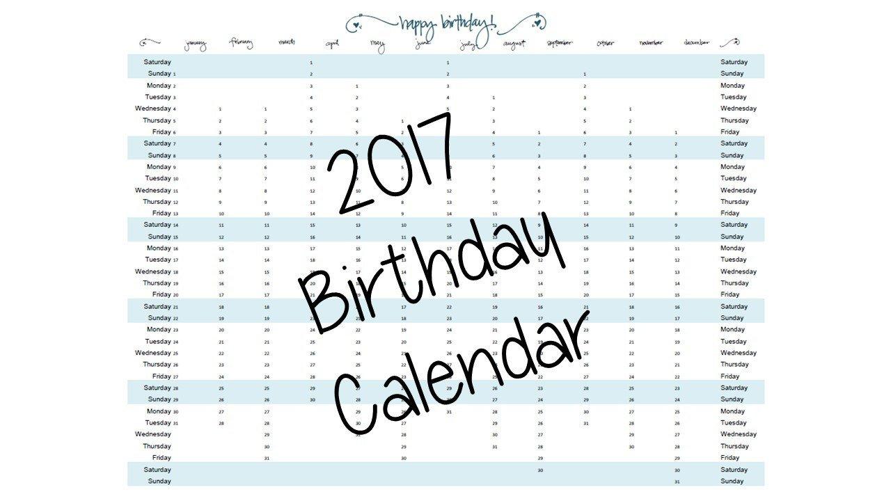 Computer Fillable Birthday Calendar | Calendar Template 2020 Fillable Birthday Calendar Template