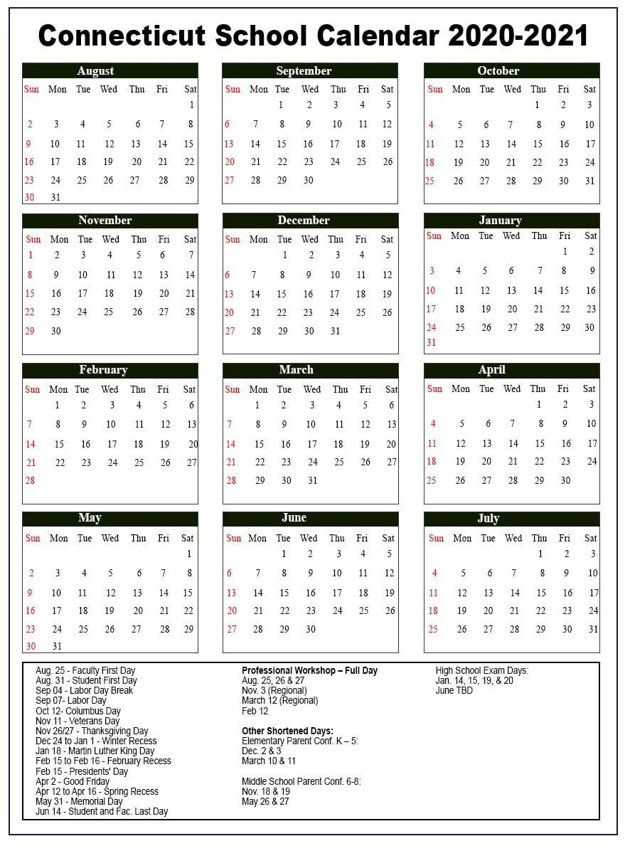 Connecticut School Holidays Calendar 2020-21 | Nyc School Calendear That I Can Edit With Holidays On It