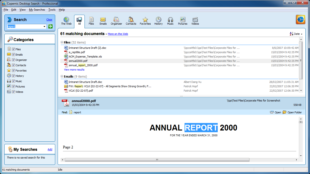 Copernic Desktop Search Professional Screenshot Page Free Wordperfect Calendar Templates