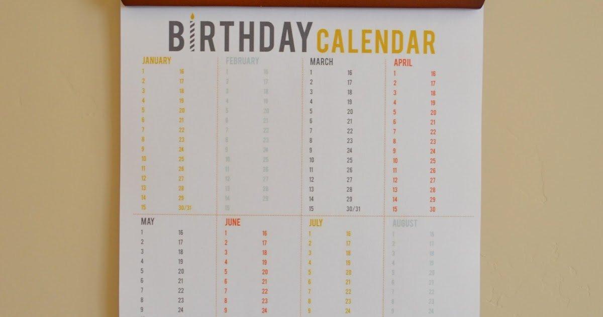 Craftaphile: Printable Birthday Calendar Fillable Birthday Calendar Template