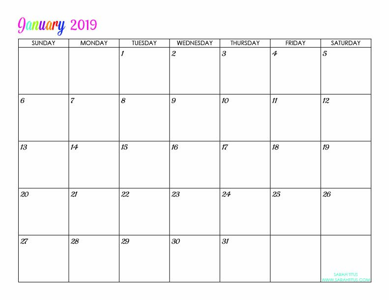 Custom Editable Free Printable 2019 Calendars - Sarah Titus Free Calendar You Can Edit