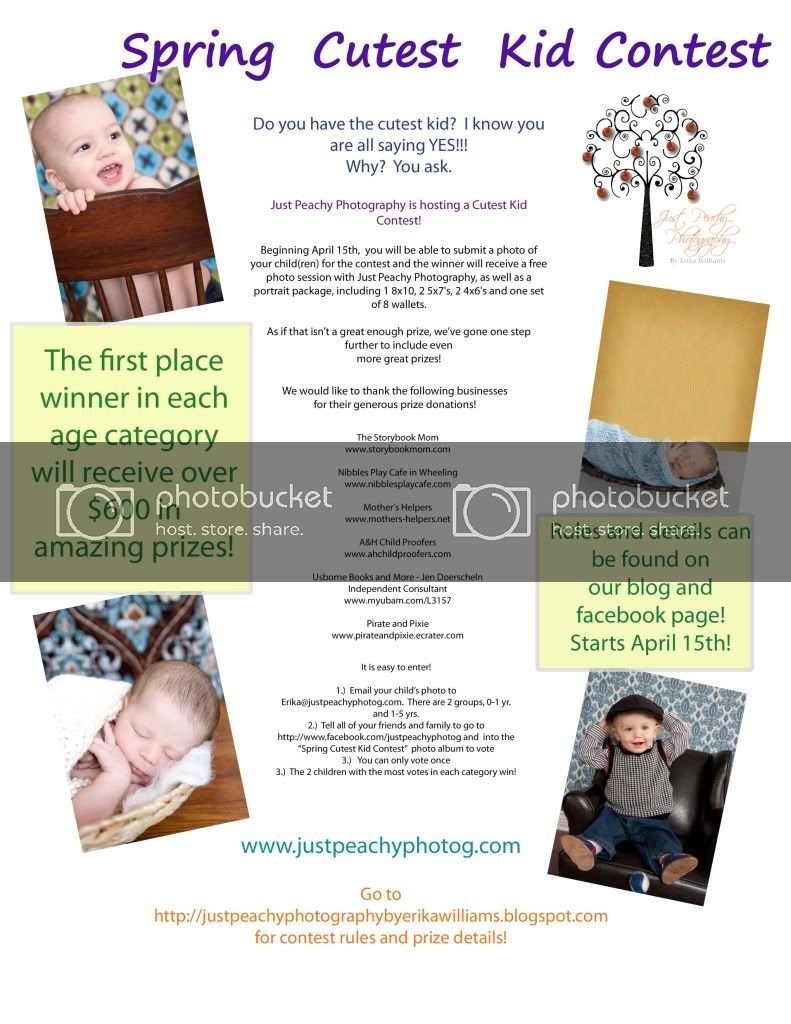 Cutest Kid Contest Flyer - Just Peachy Photography-Nw Tempalate For Baby Sweepstake