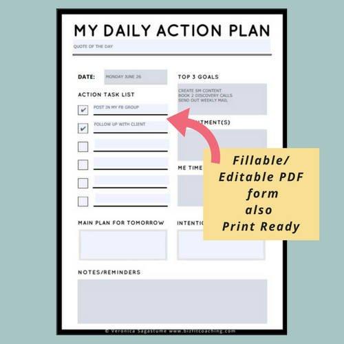 Daily Action Plan Daily Plan Of Action Daily Planner Sheet 5 1/2 X 8 1/2 Page Daily Calendar Template Editable