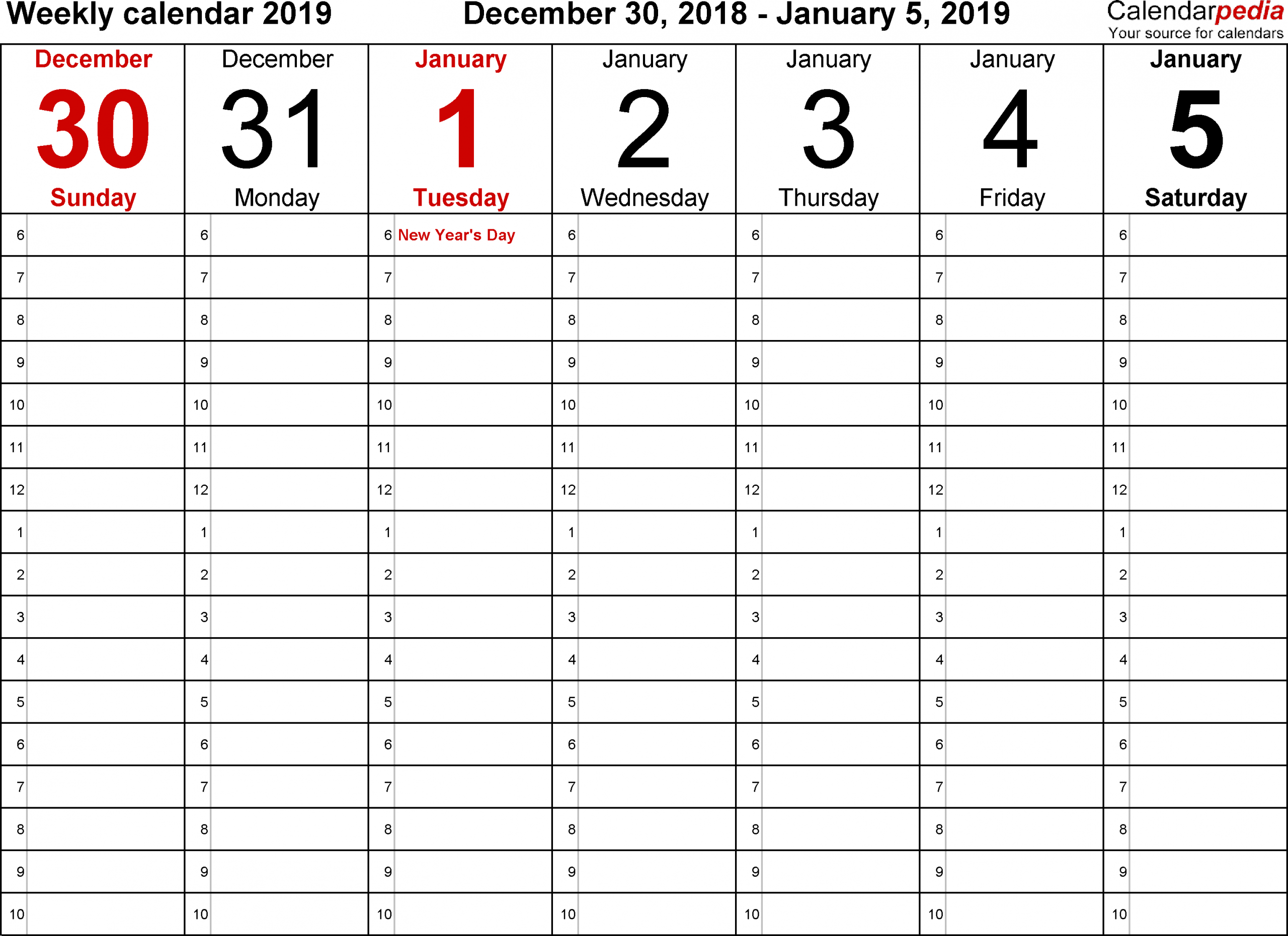 Daily Appointment Calendar Template 2019   Daily Calendar Free Blank Calendar For One Week Printable