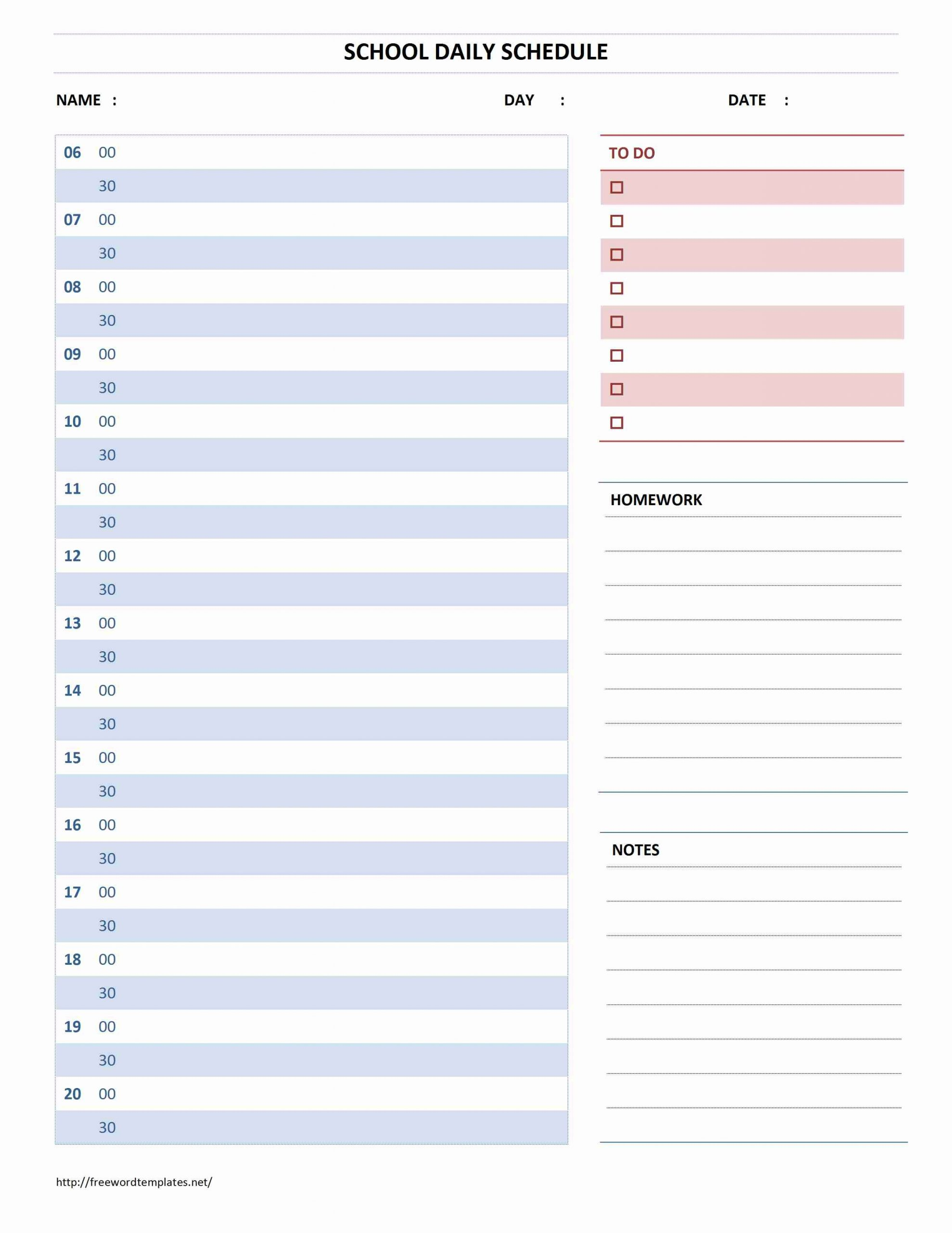 Daily Calendar Template Microsoft Word | Daily Calendar One Day Hourly Calendar Free Printable